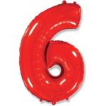 Шар (40''/102 см) Цифра, 6, Красный, 1 шт.
